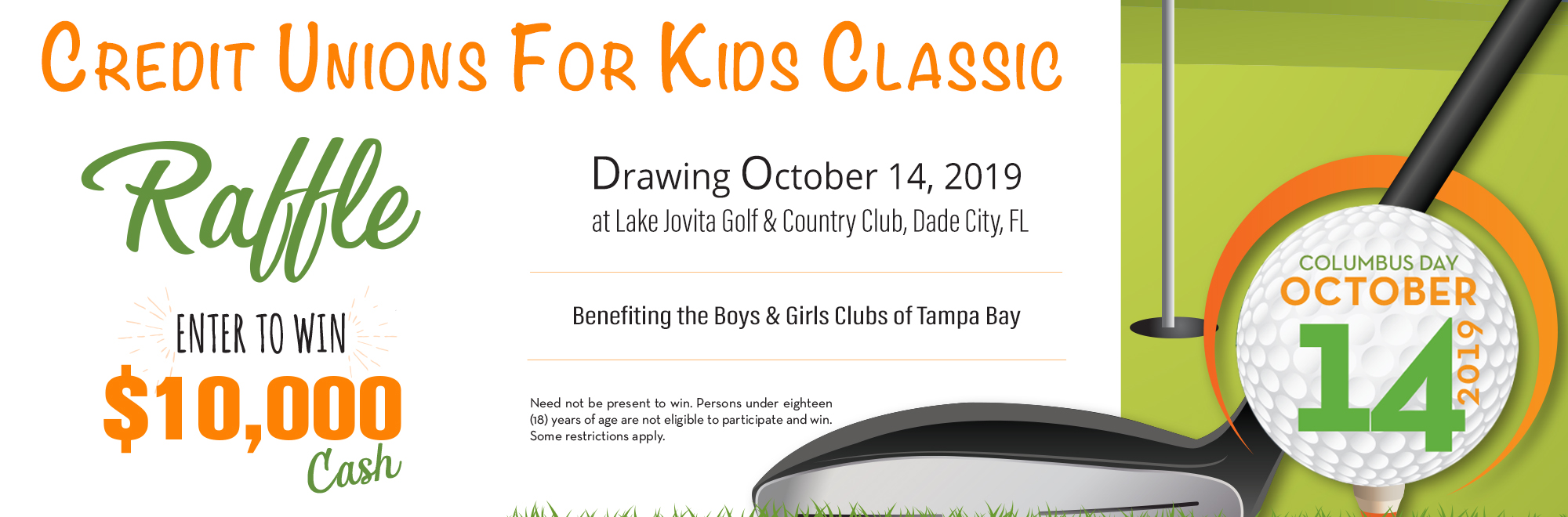 Credit Union For Kids Golf is hosting a drawling on October 14th, 2019 for a chance to win $10,000! Raffle tickets are available at all SACFCU branches.