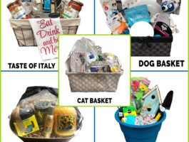 SACFCU's Relay for Life Baskets. Taste of Italy Basket, Dog Basket, Gardening Basket, & a Yankee Candle Basket