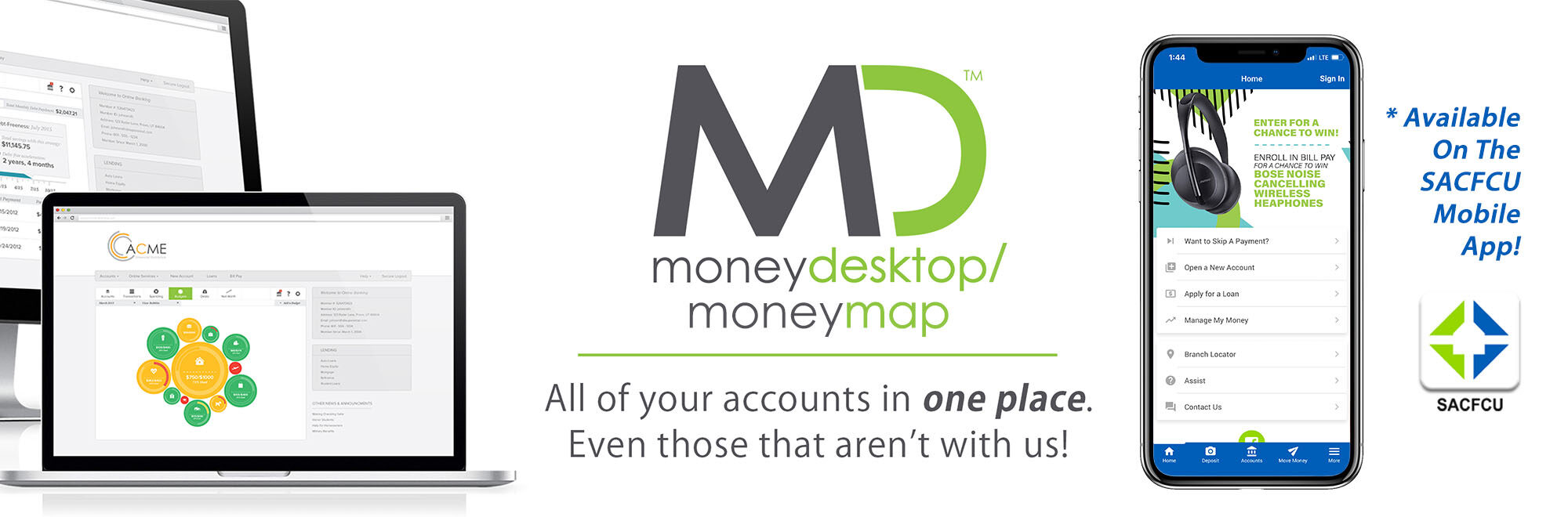 MoneyDesktop gives you access to all of your accounts in one place - even the ones that aren't with us
