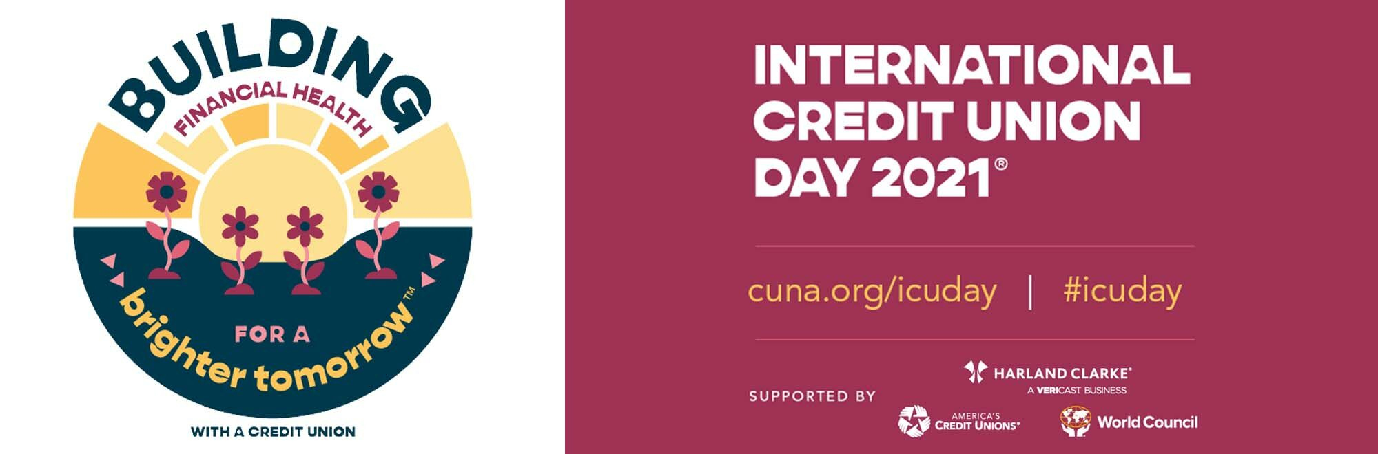 Cartoon image with text promoting international credit union day