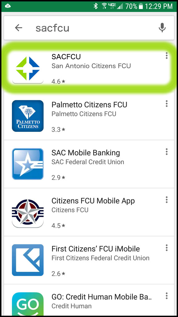"Android Phone Screen searching ""SACFCU"" in the Google Play Store."