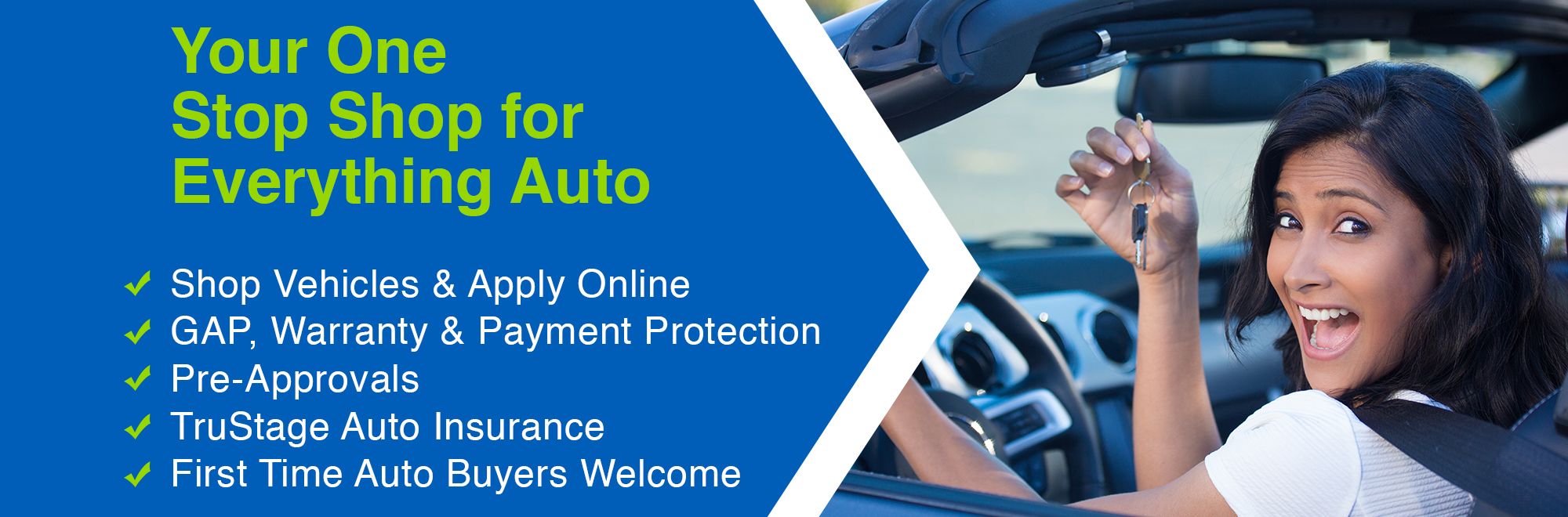 SACFCU is your one-stop shop for everything auto. You can shop vehicles and apply online, get GAP, Warranty, & Payment Protection, Pre-Approvals, Tru-Stage Auto Insurance, & more! First time car buyers are always welcome.