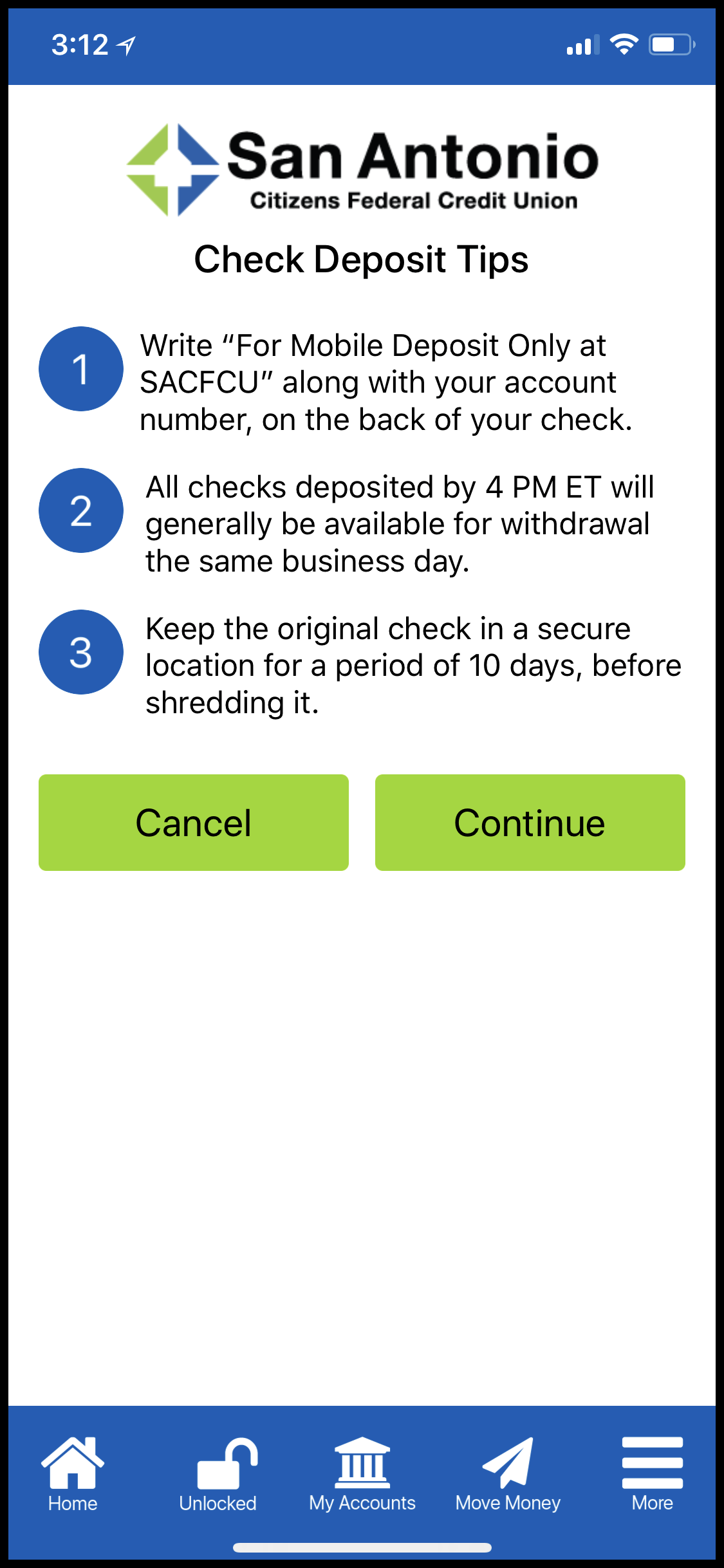 Mobile Check Deposit Tips Screen on new app