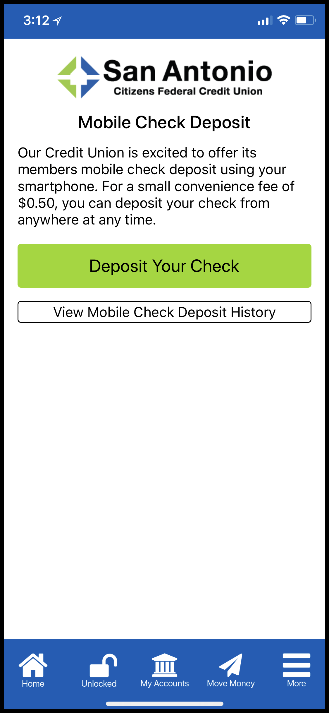 Despoit Your Check Mobile App Screen