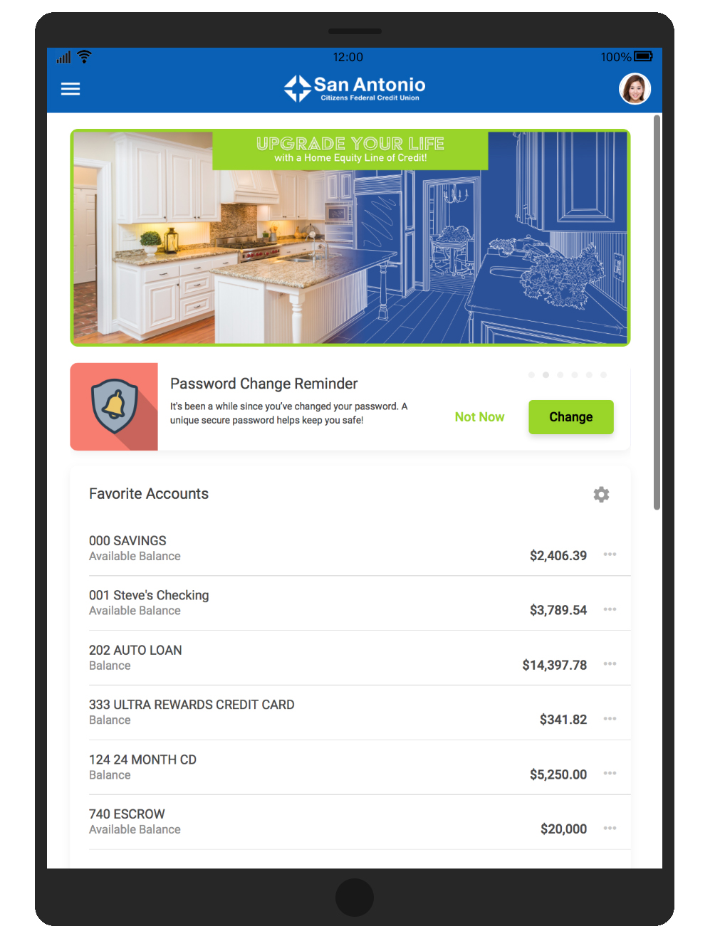 Screenshot of the New Online Banking home screen on a tablet