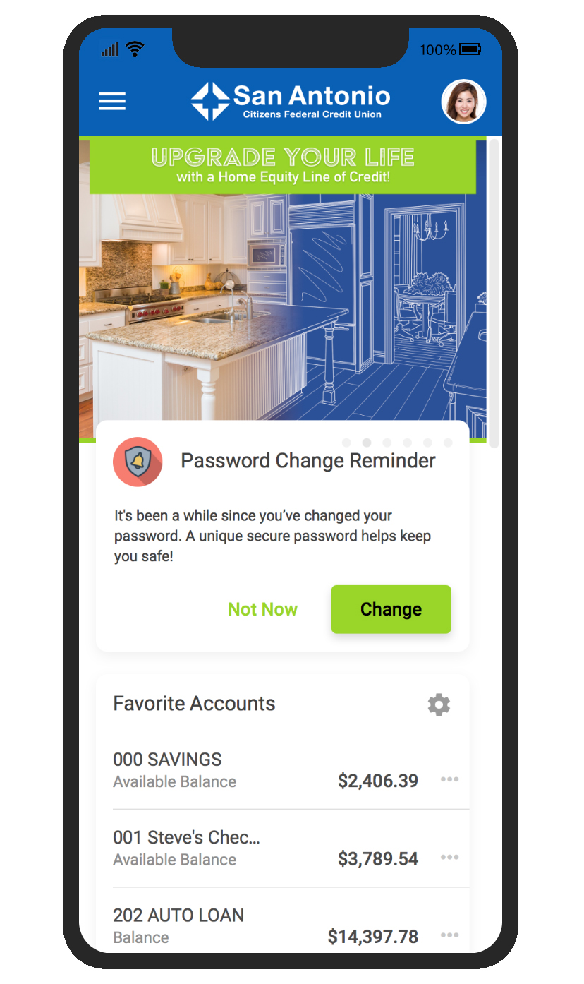 Screenshot of the New Online Banking home screen on a cell phone