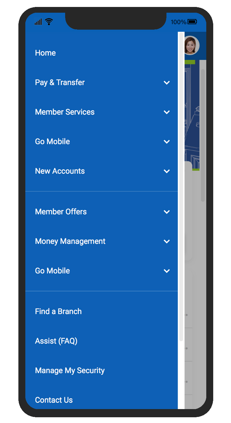 Screenshot of the New Online Banking menu on a cell phone