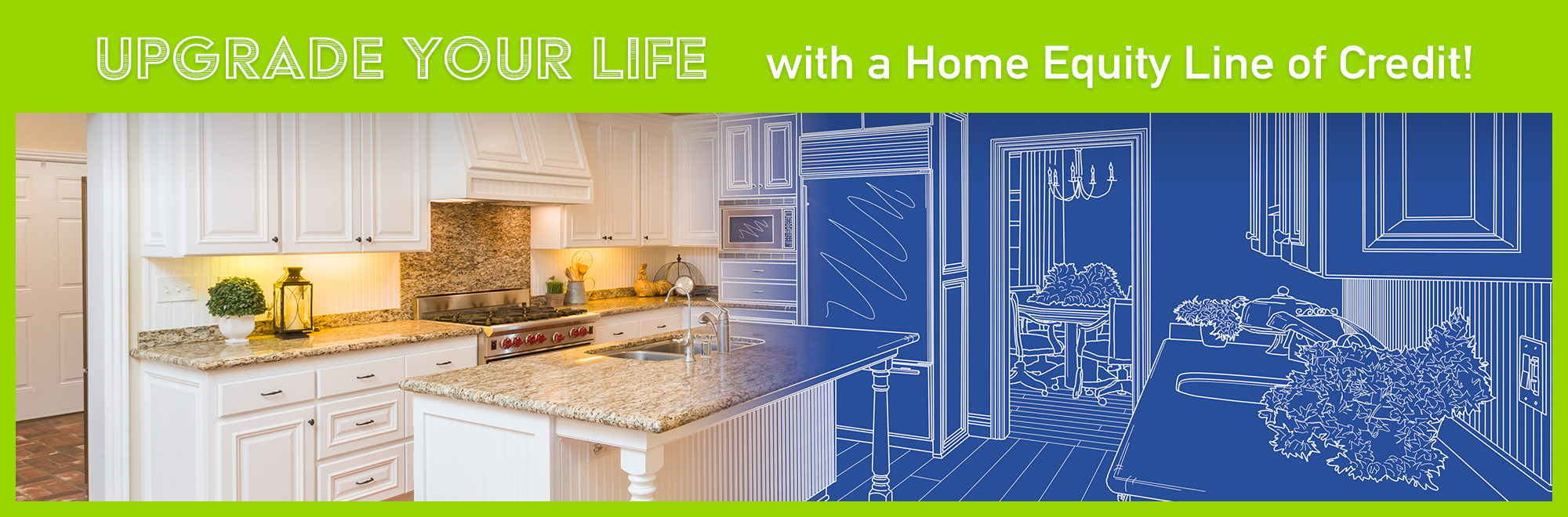 Image of a remodeled kitchen mixed with a future blueprint of the kitchen.