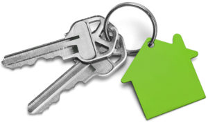 Set of Keys With Green House Isolated on White Background.