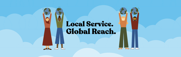 "Graphic for International Credit Union Day saying, ""Local Service. Global Reach."""