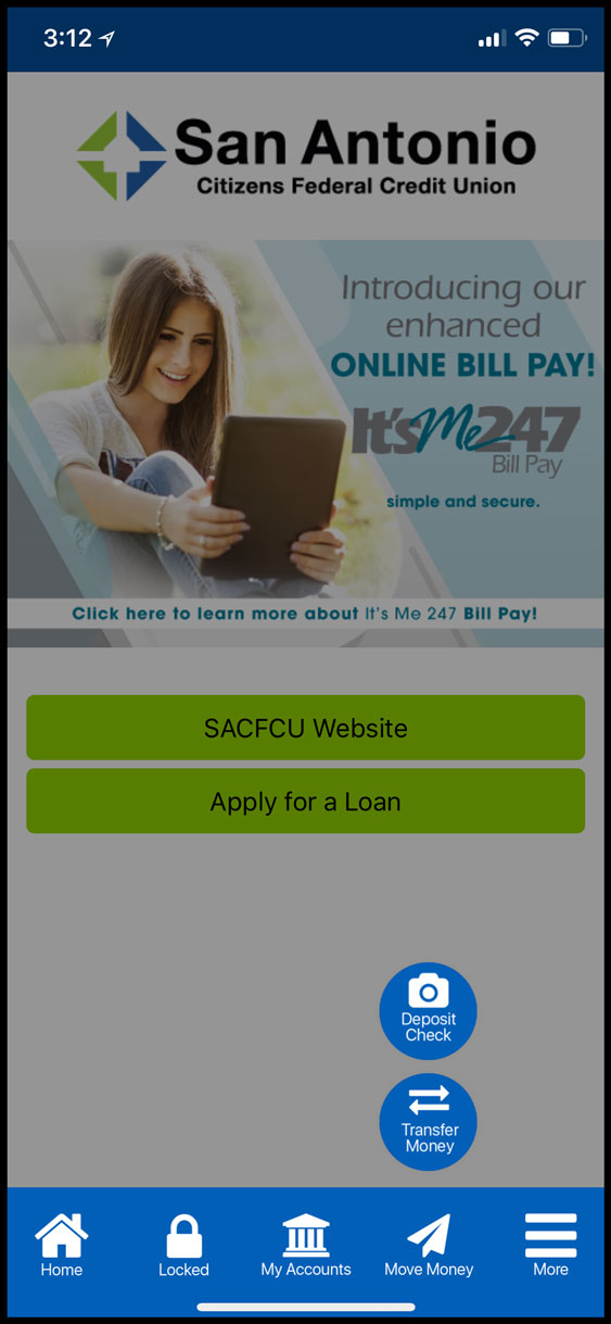 """Move Money"" button at the bottom of SACFCU's new app"