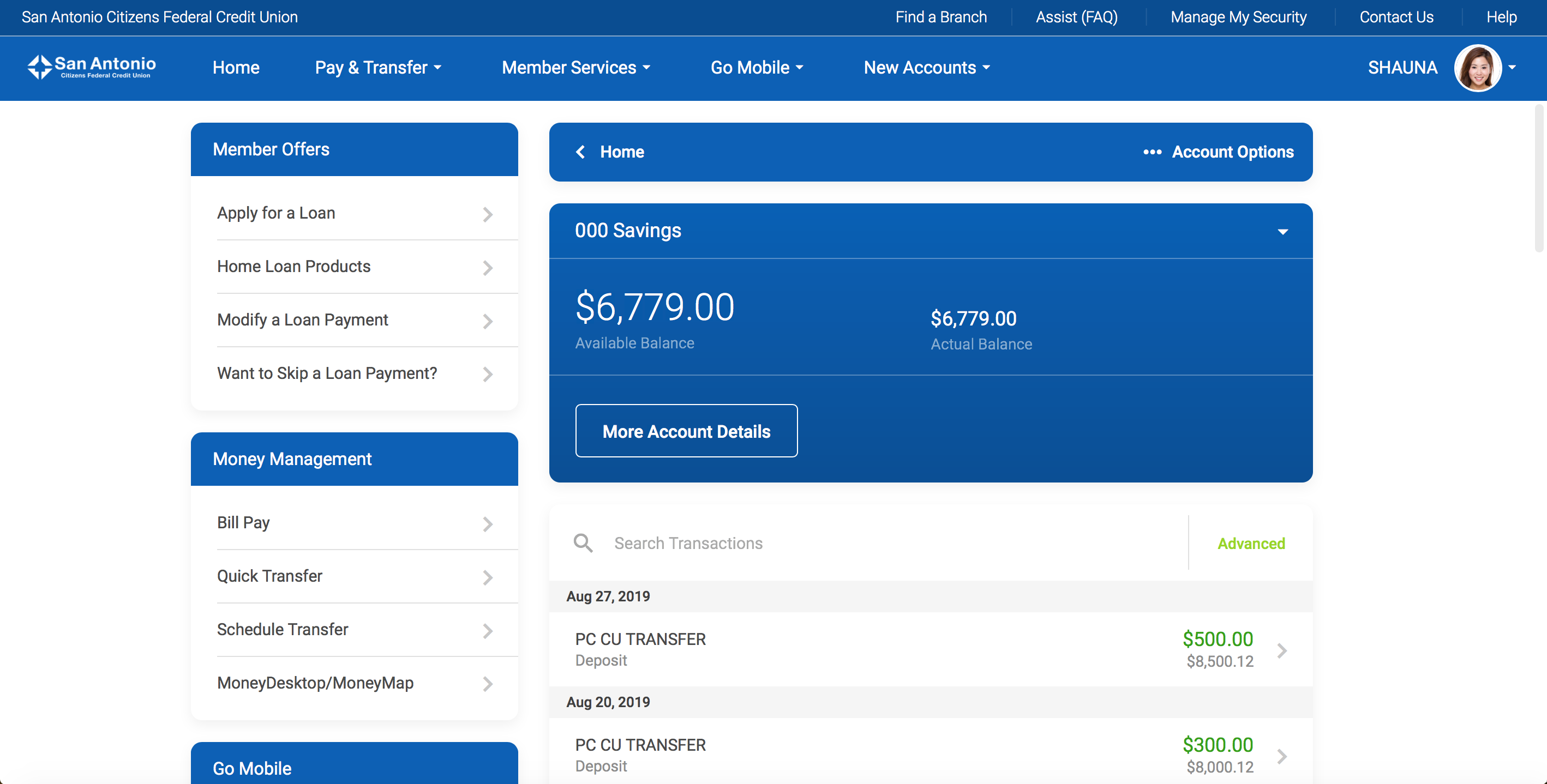 Screenshot of the new It's Me 247 Online Banking Accounts page