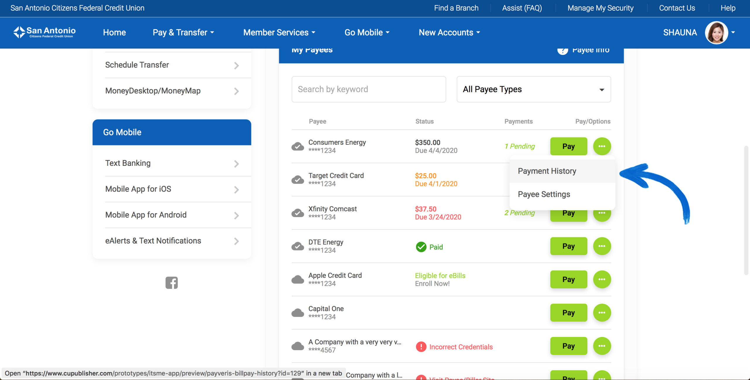 Screenshot of the new It's Me 247 Online Banking Bill Pay Settings & Payment History