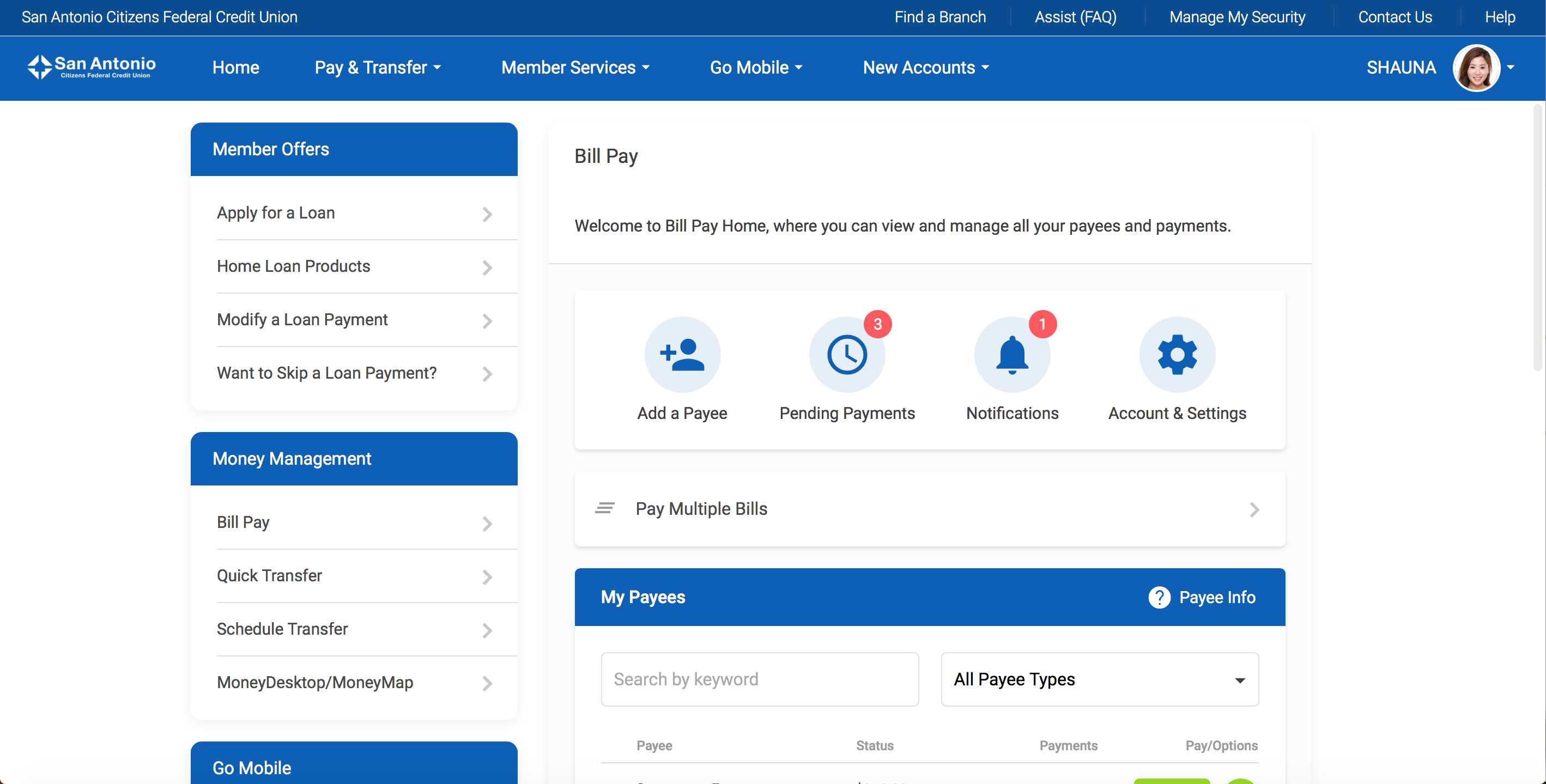 Screenshot of the new It's Me 247 Online Banking Bill Pay