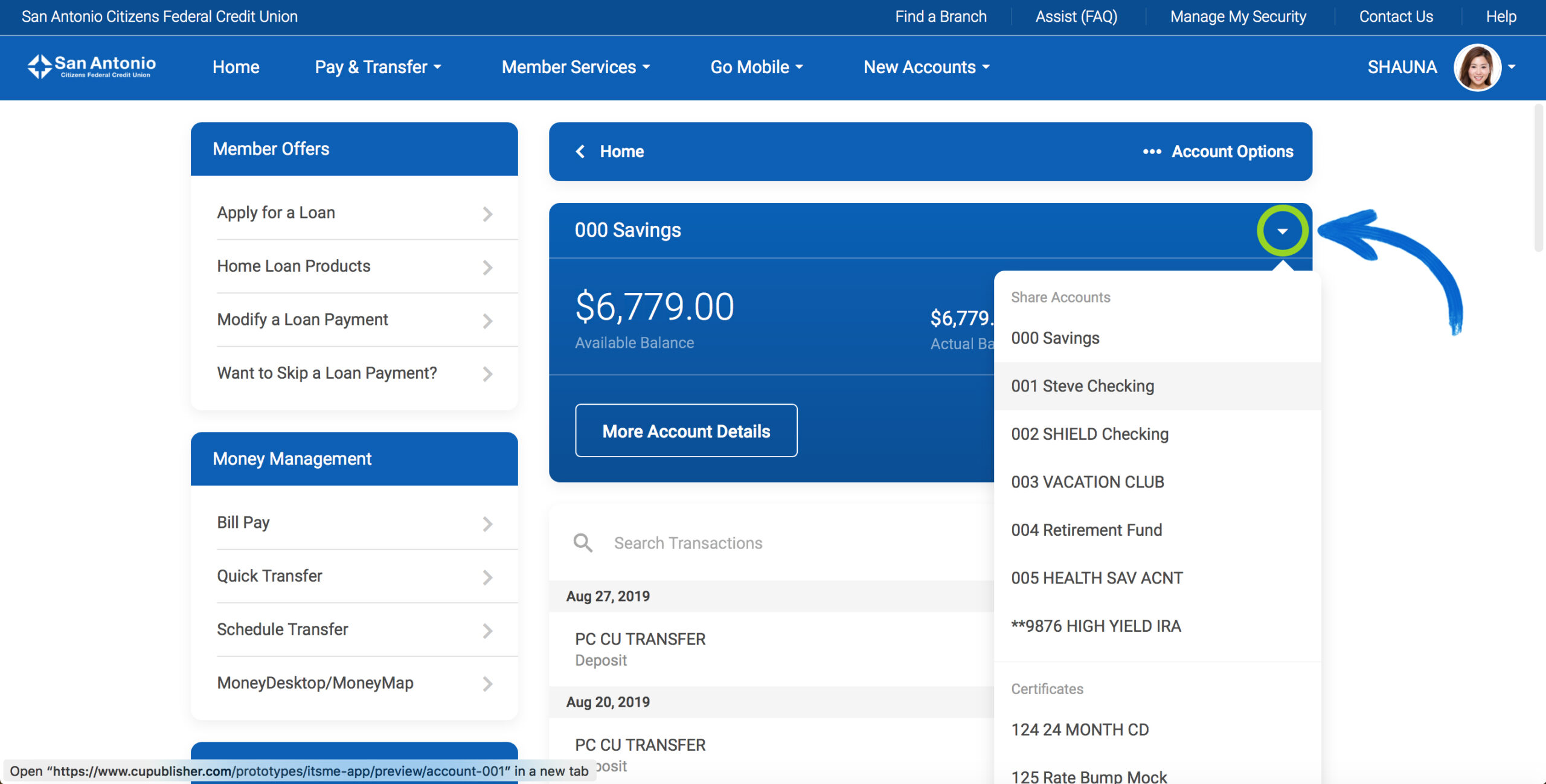 Screenshot of the new It's Me 247 Online Banking View A Different Account