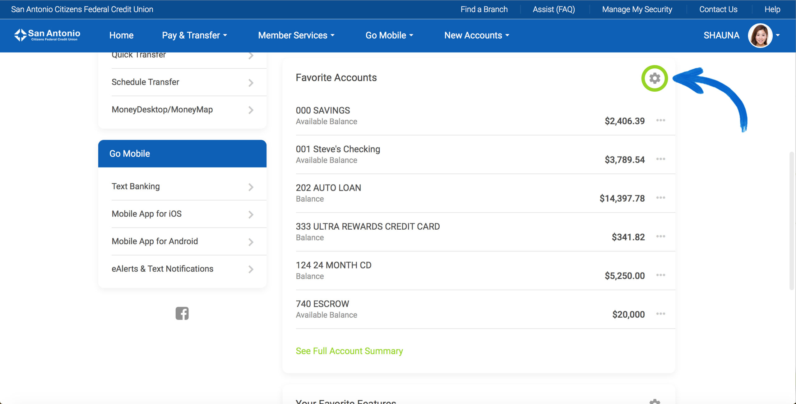 Screenshot of the new It's Me 247 Online Banking Favorite Accounts section