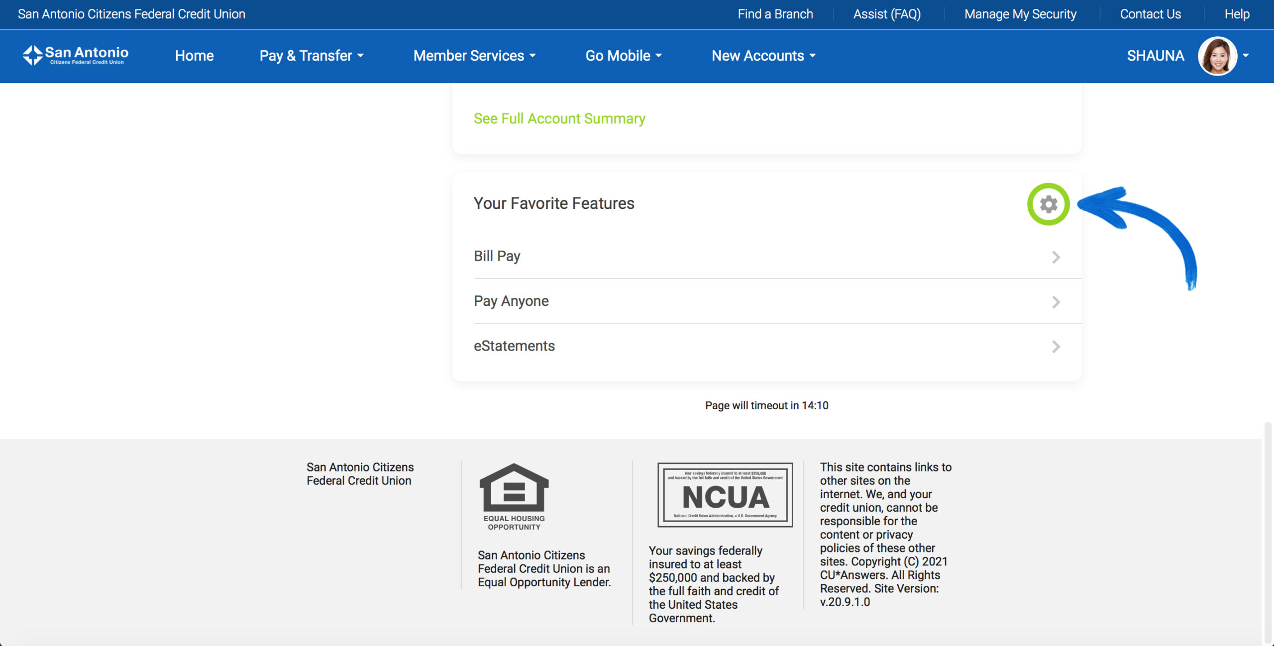 Screenshot of the new It's Me 247 Online Banking Favorite Features section