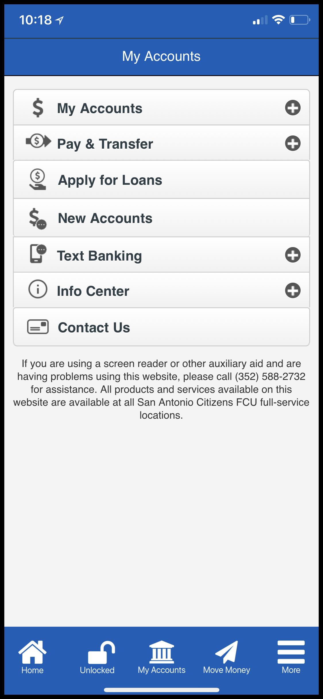Screenshot of the Online Banking Page of SACFCU's new mobile app