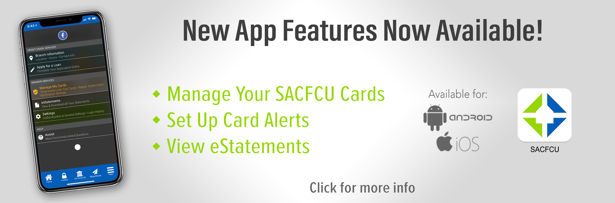New App Features Coming This Month! You will now be able to Manage your SACFCU Cards, Set up card alerts, and view your eStatements.