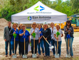 Photo of SACFCU Employees holding shovels at the groundbreaking ceremony of the new San Antonio Operations Center
