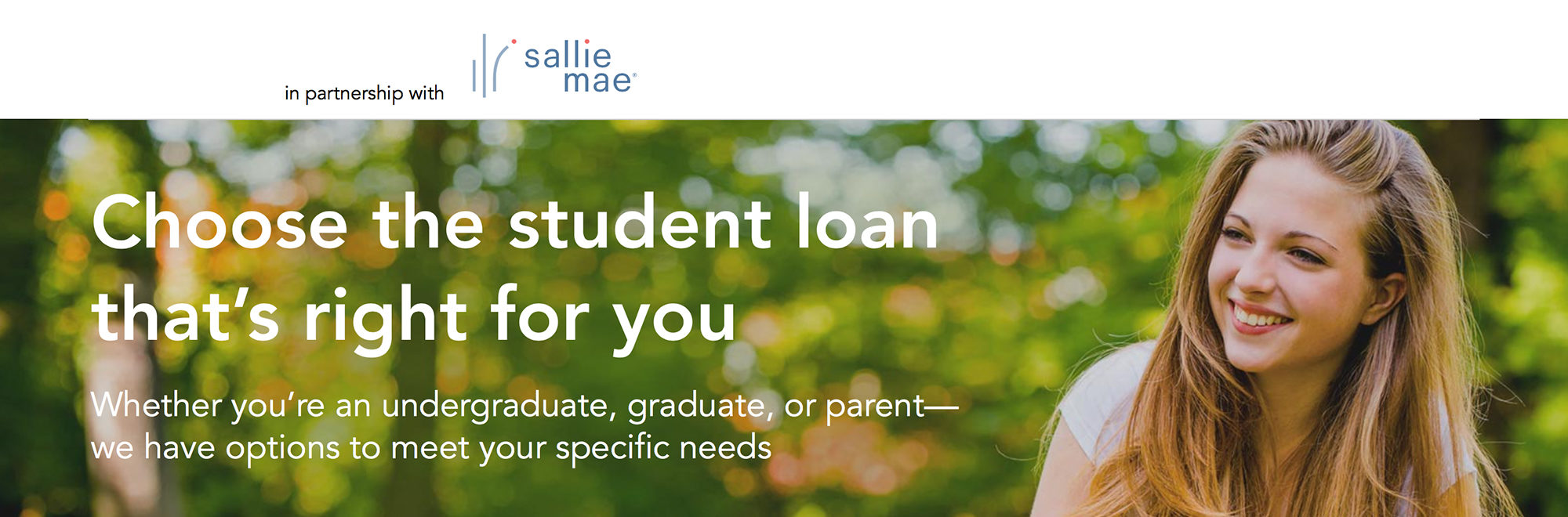 """Image of a girl sitting in front of trees with text reading, """"Choose the student loan that's right for you"""""""