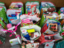 Image of all the gifts SACFCU collected for their annual Santa's Tree Giving Program.