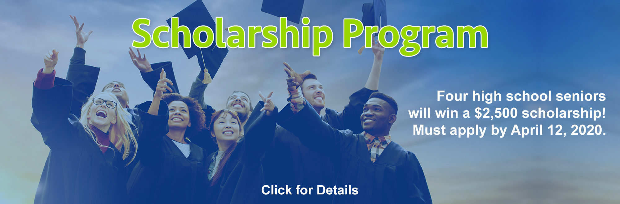 Image of high school graduates holding up their caps. Text telling about the scholarship program SACFCU has going on now. Click the banner for details