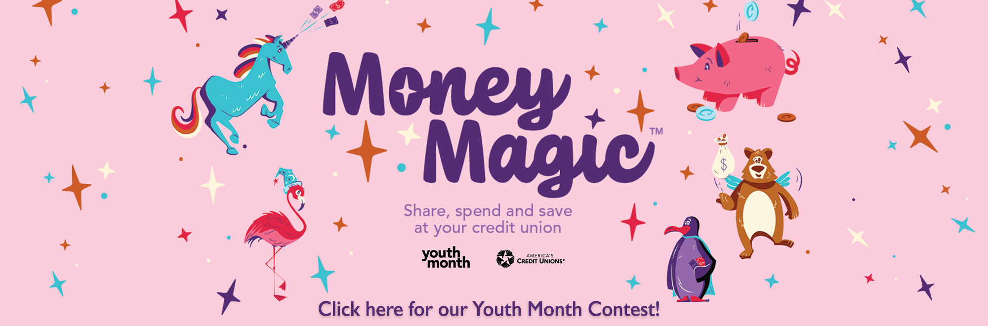 Picture of magical animals with text reading, click here for our youth month contest.