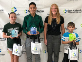 Picture of SACFCU's Office Manager and Youth Month Contest Winners. Each of the 3 winners won a Fujifilm Instax Camera with accessories!